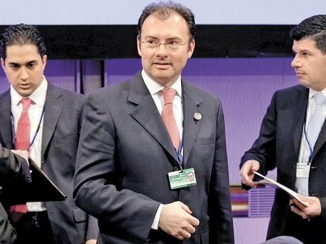 Mexican finance minister Luis Videgaray Caso arrives at a G-24 meeting during the 2013 Spring Meeting of the International Monetary Fund and World Bank in Washington